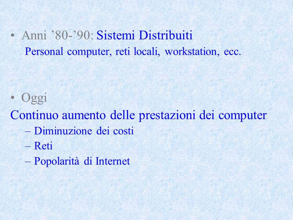 Anni 80-90: Sistemi Distribuiti Personal computer, reti locali, workstation, ecc.