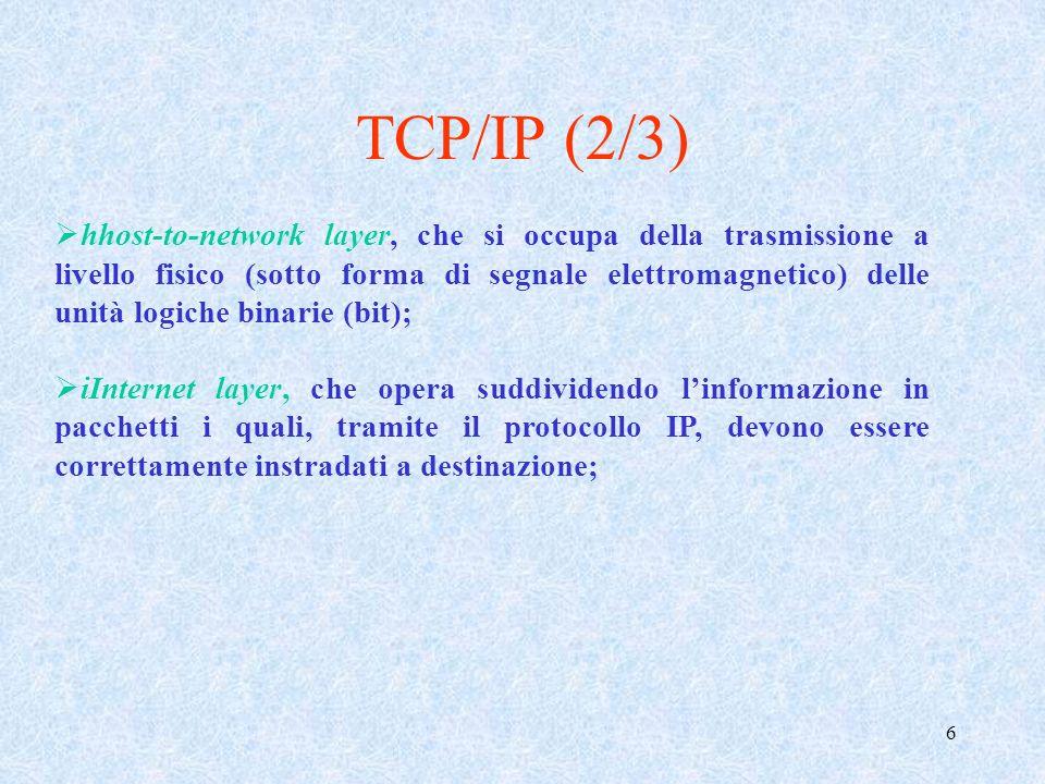 7 transport layer, che si occupa delle caratteristiche della connessione tra origine e destinazione; in particolare in questo livello il protocollo TCP offre un servizio di consegna dei pacchetti garantito e connection-oriented (i pacchetti vengono cioè consegnati nellordine in cui sono stati spediti), mentre in quello UDP la trasmissione è connectionless (cioè non rispetta alcun ordine nella consegna) e non viene offerta alcuna garanzia di arrivo a destinazione dei pacchetti; application layer, che fornisce i protocolli alle applicazioni software; fra essi si hanno lHTTP, usato per richiedere e/o trasmettere pagine ipertestuali, lFTP, usato per trasmettere file, lSMNP, il POP e lIMAP (per la trasmissione e ricezione di e-mail), ecc.