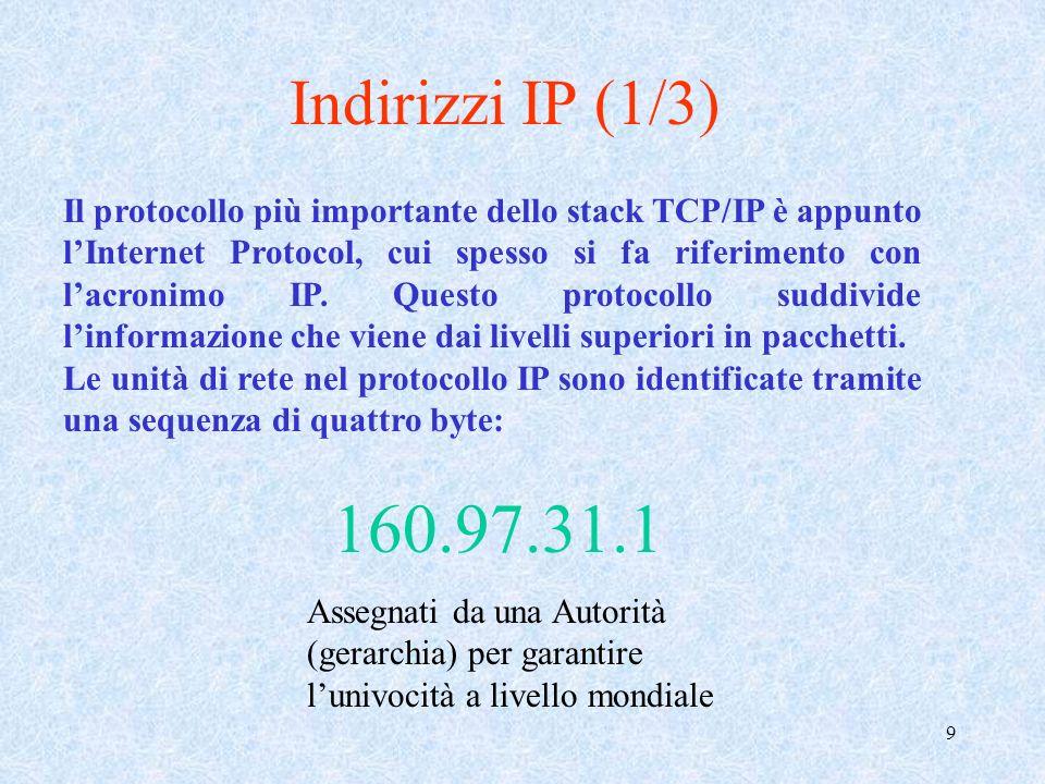 10 Indirizzi IP (2/3) Gli indirizzi IP sono suddivisi in cinque grandi classi: classe A (da 1.0.0.0 a 127.255.255.255); classe B (128.0.0.0 e 191.255.255.255); classe C (192.0.0.0 e 223.255.255.255); classe D (da 224.0.0.0 a 239.255.255.255); classe E (da 240.0.0.0 a 247.255.255.255).