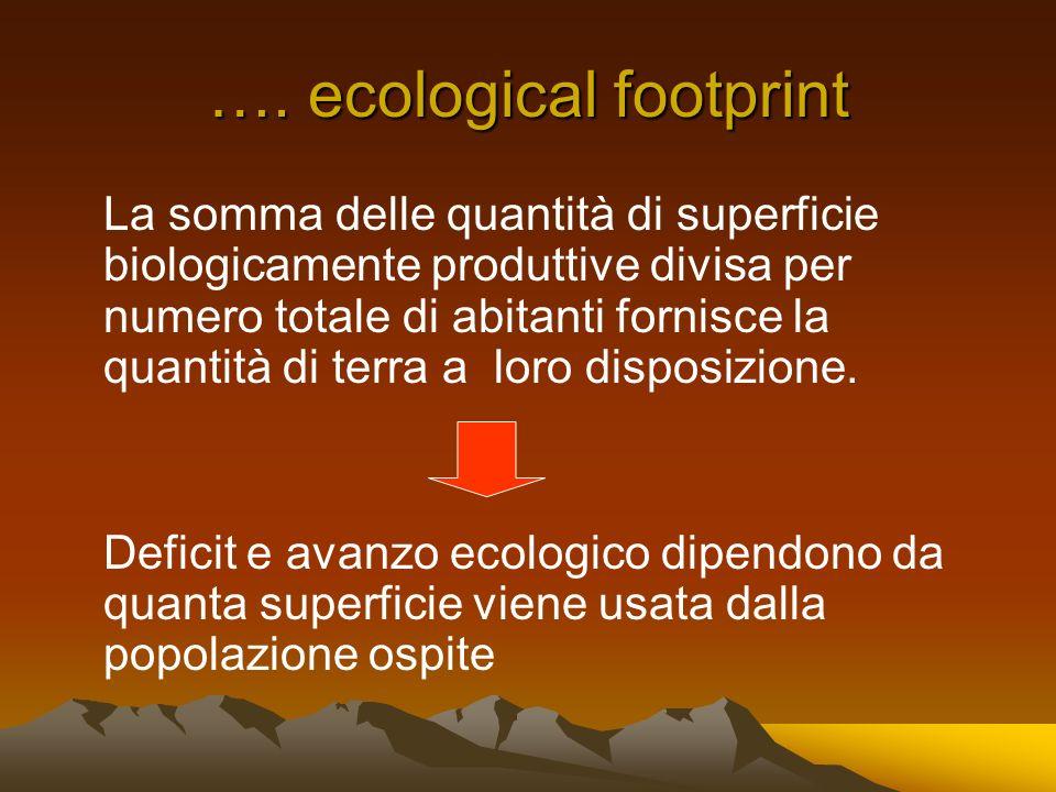 …. ecological footprint La somma delle quantità di superficie biologicamente produttive divisa per numero totale di abitanti fornisce la quantità di t