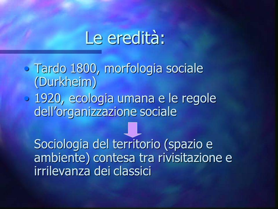 Le eredità: Tardo 1800, morfologia sociale (Durkheim)Tardo 1800, morfologia sociale (Durkheim) 1920, ecologia umana e le regole dellorganizzazione soc