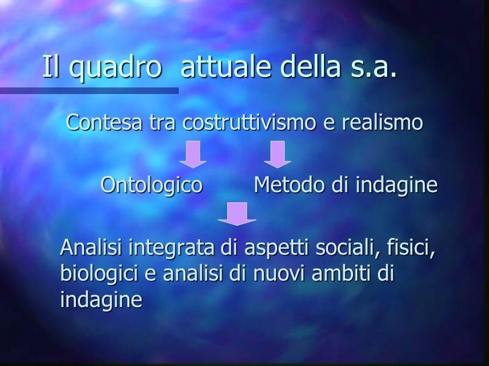 Il quadro attuale della s.a. Contesa tra costruttivismo e realismo Ontologico Metodo di indagine Analisi integrata di aspetti sociali, fisici, biologi