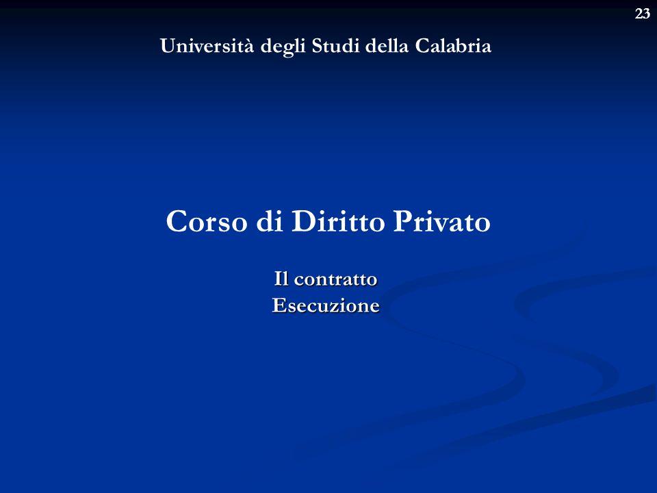 23 Università degli Studi della Calabria Corso di Diritto Privato Il contratto Esecuzione
