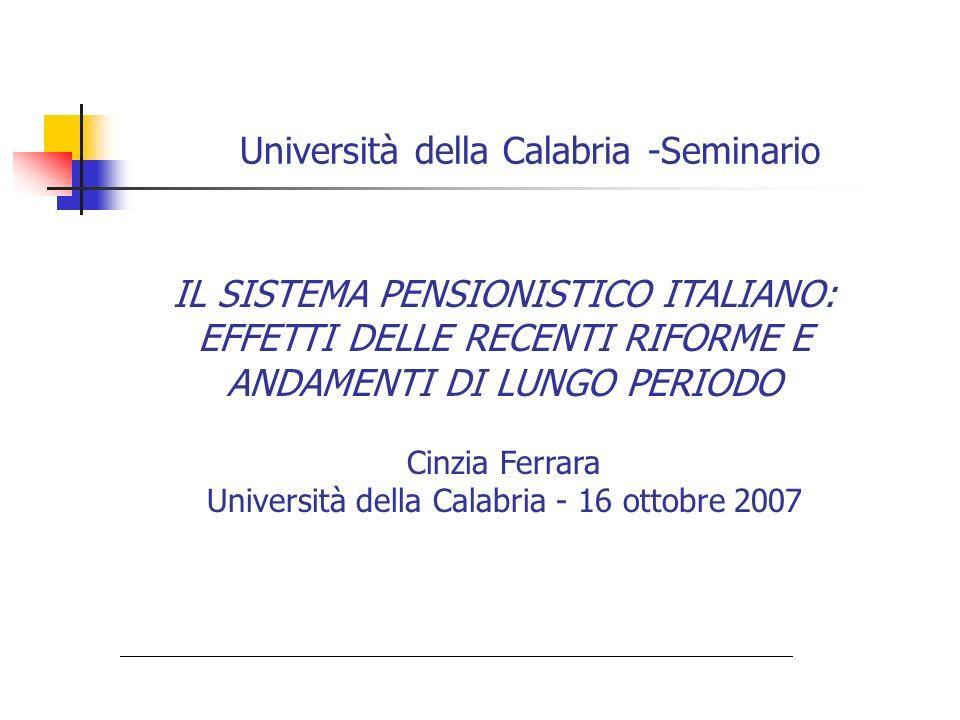Università della Calabria -Seminario IL SISTEMA PENSIONISTICO ITALIANO: EFFETTI DELLE RECENTI RIFORME E ANDAMENTI DI LUNGO PERIODO Cinzia Ferrara Univ