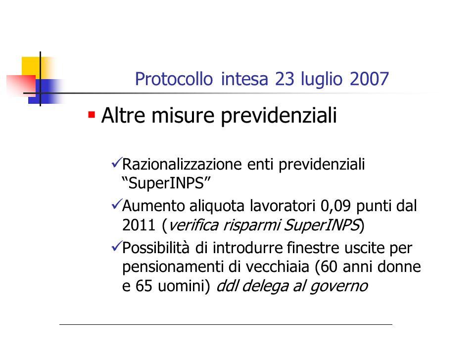 Protocollo intesa 23 luglio 2007 Altre misure previdenziali Razionalizzazione enti previdenziali SuperINPS Aumento aliquota lavoratori 0,09 punti dal