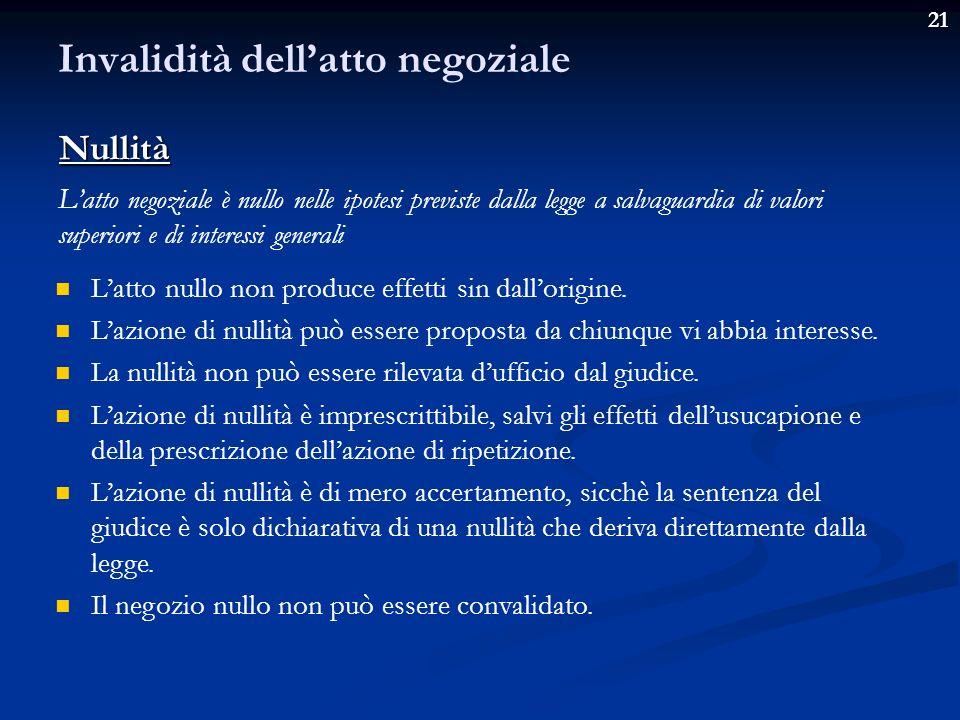 21 Invalidità dellatto negoziale Latto negoziale è annullabile quando presenta un vizio che si concretizza in una violazione di regole poste a tutela degli interessi individuali delle parti.