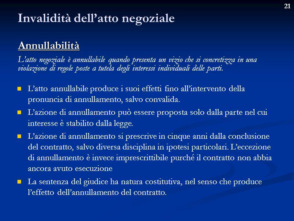21 Invalidità dellatto negoziale Latto negoziale è inefficace quando è valido, ma non è in grado di produrre i suoi effetti tipici.
