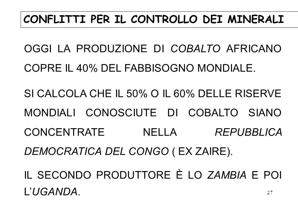 27 OGGI LA PRODUZIONE DI COBALTO AFRICANO COPRE IL 40% DEL FABBISOGNO MONDIALE. SI CALCOLA CHE IL 50% O IL 60% DELLE RISERVE MONDIALI CONOSCIUTE DI CO