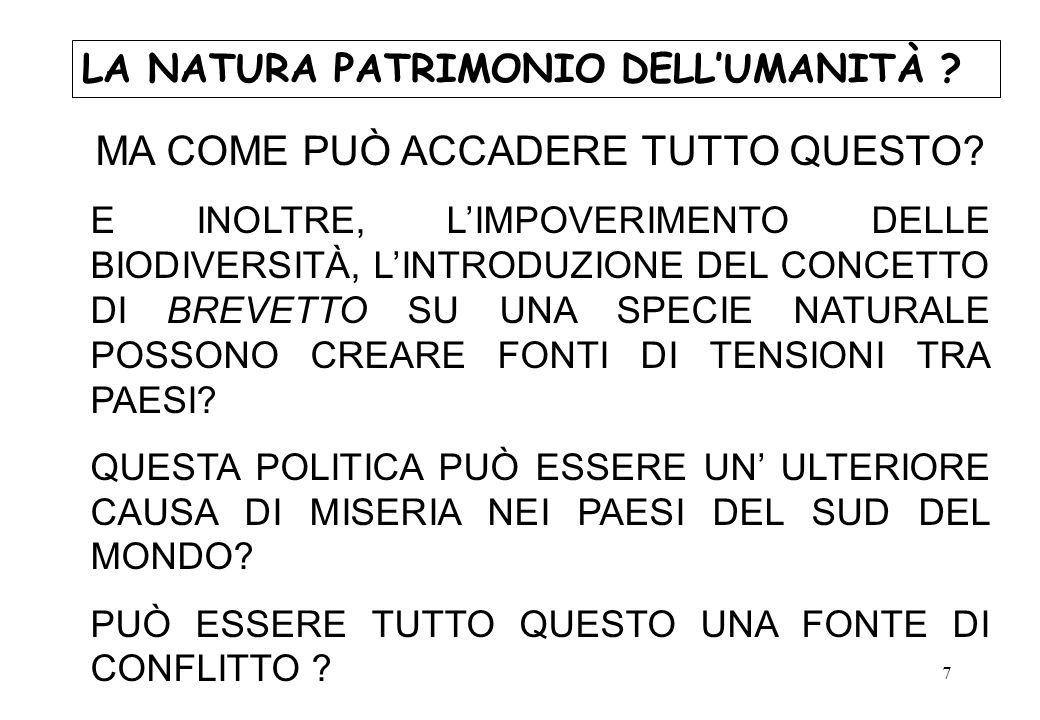 8 LA NATURA PATRIMONIO DELLUMANITÀ .