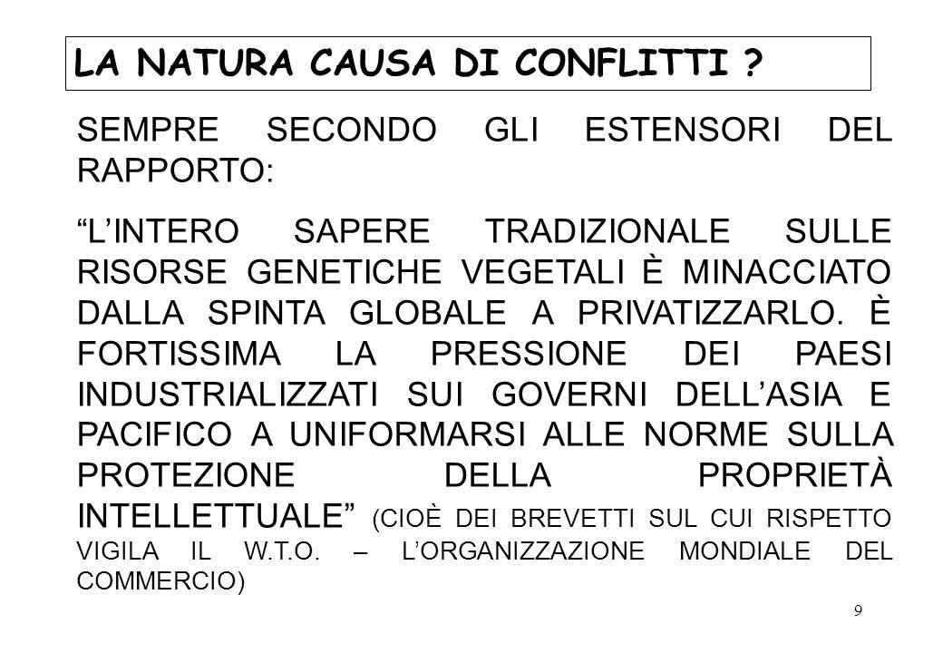 20 LA NATURA CAUSA DI CONFLITTI .