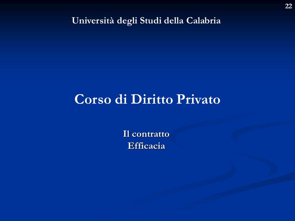 22 Università degli Studi della Calabria Corso di Diritto Privato Il contratto Efficacia