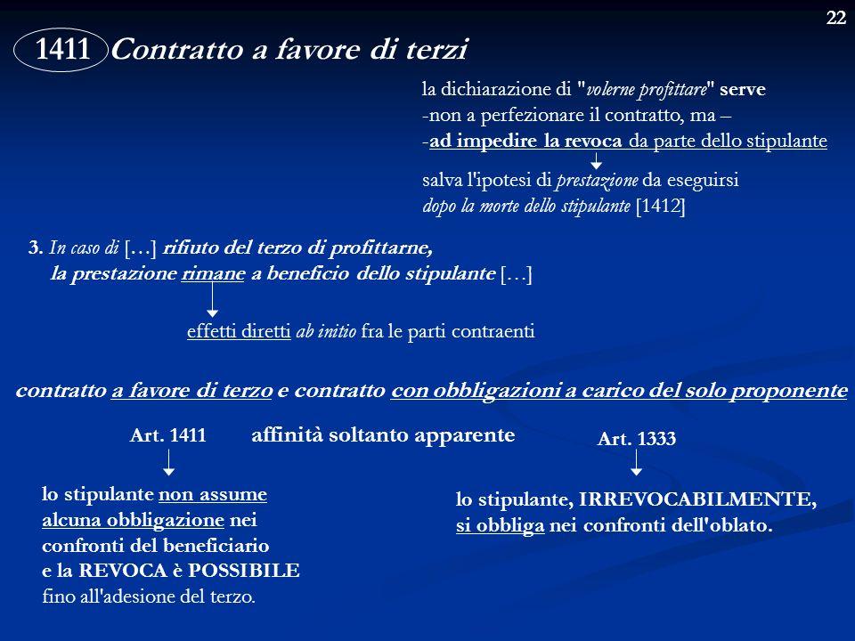 22 1411 Contratto a favore di terzi 3. In caso di […] rifiuto del terzo di profittarne, la prestazione rimane a beneficio dello stipulante […] effetti