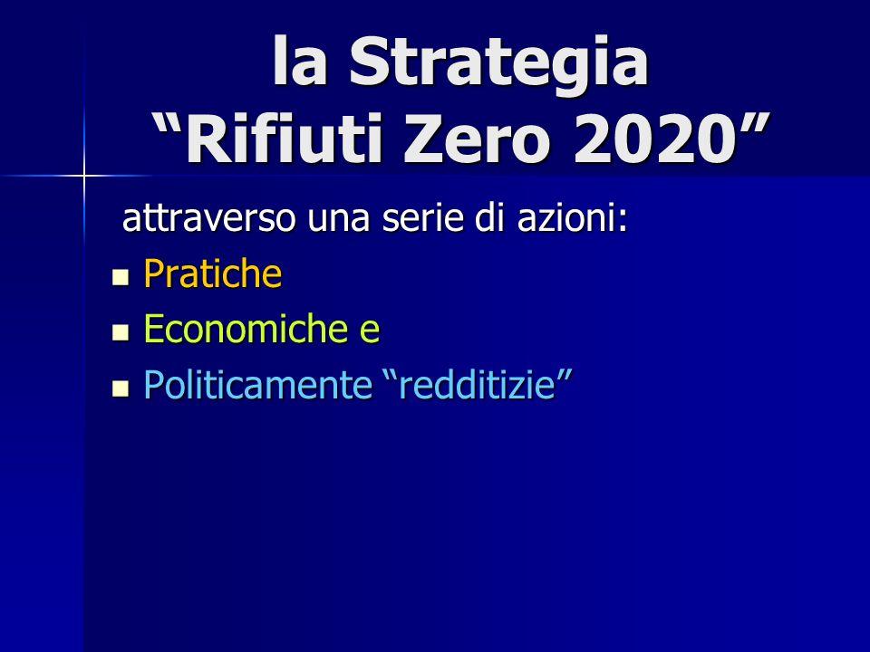 la Strategia Rifiuti Zero 2020 attraverso una serie di azioni: attraverso una serie di azioni: Pratiche Pratiche Economiche e Economiche e Politicamente redditizie Politicamente redditizie