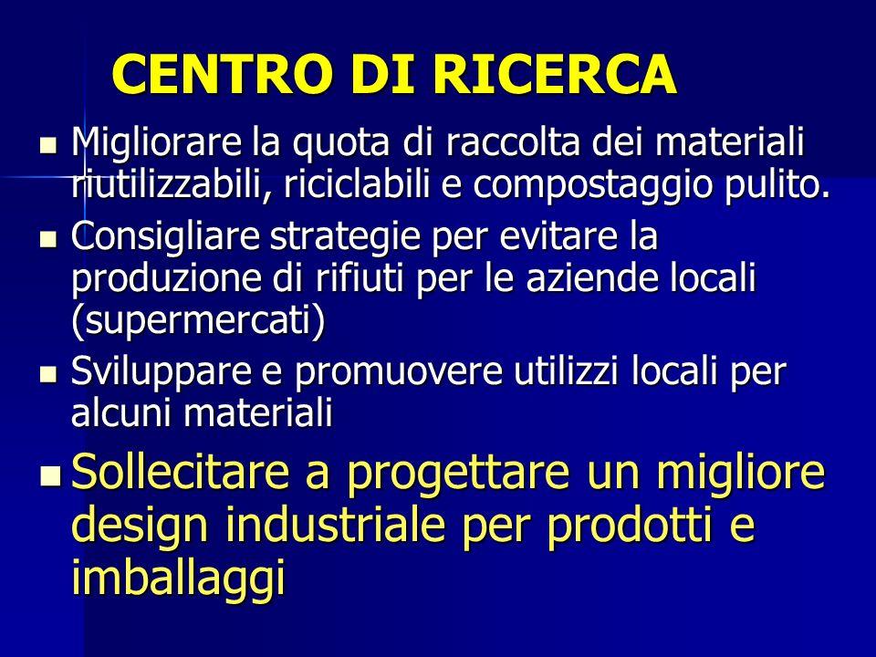 CENTRO DI RICERCA Migliorare la quota di raccolta dei materiali riutilizzabili, riciclabili e compostaggio pulito.