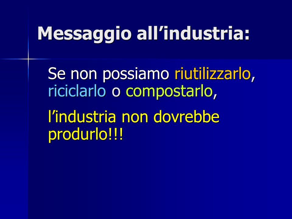 Messaggio allindustria: Se non possiamo riutilizzarlo, riciclarlo o compostarlo, lindustria non dovrebbe produrlo!!!