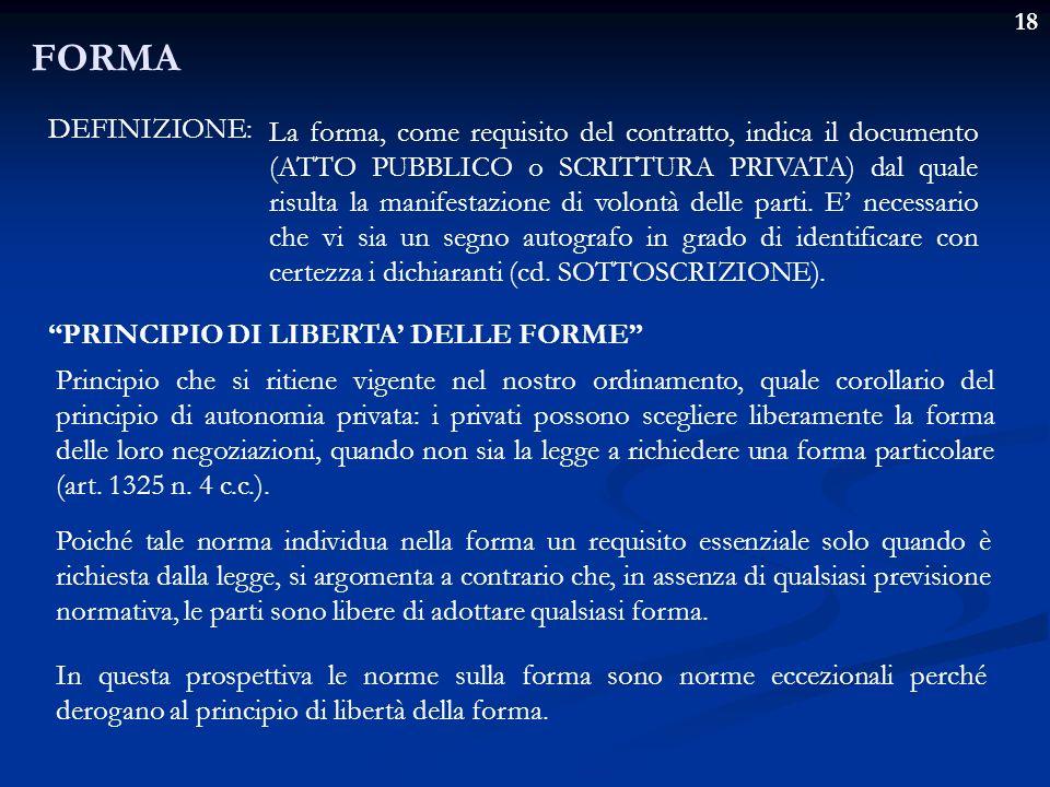 18 FORMA DEFINIZIONE: La forma, come requisito del contratto, indica il documento (ATTO PUBBLICO o SCRITTURA PRIVATA) dal quale risulta la manifestazi