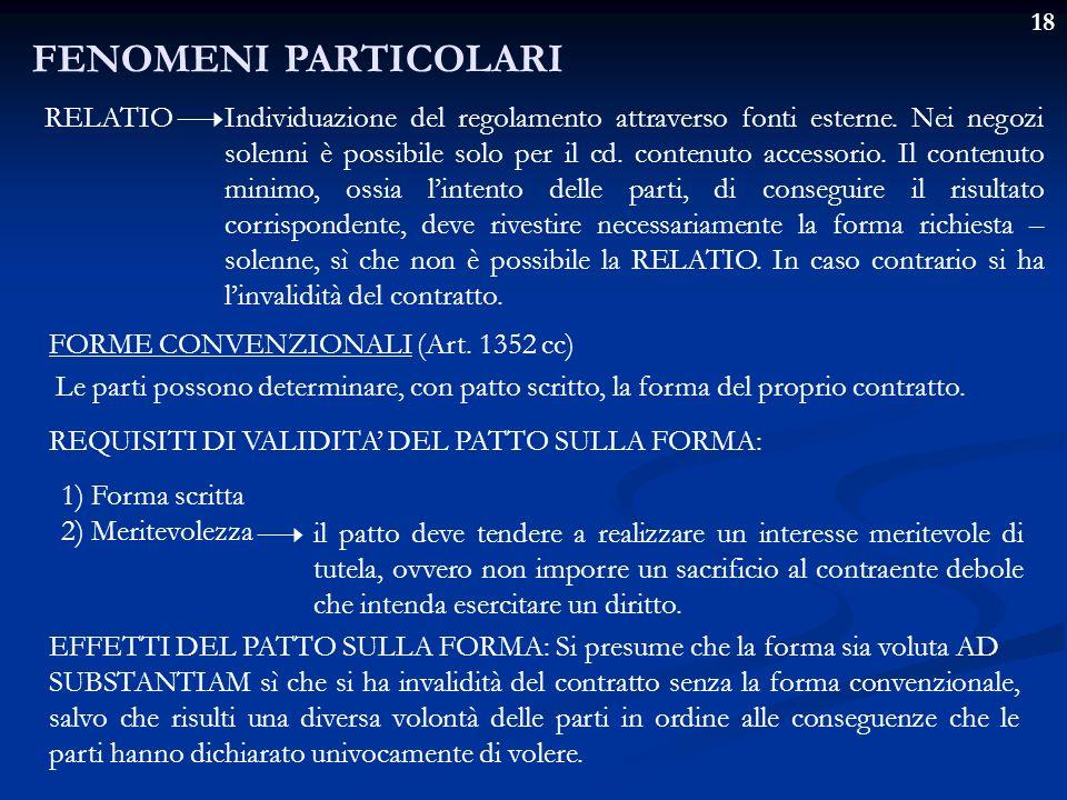 18 FENOMENI PARTICOLARI RELATIOIndividuazione del regolamento attraverso fonti esterne. Nei negozi solenni è possibile solo per il cd. contenuto acces