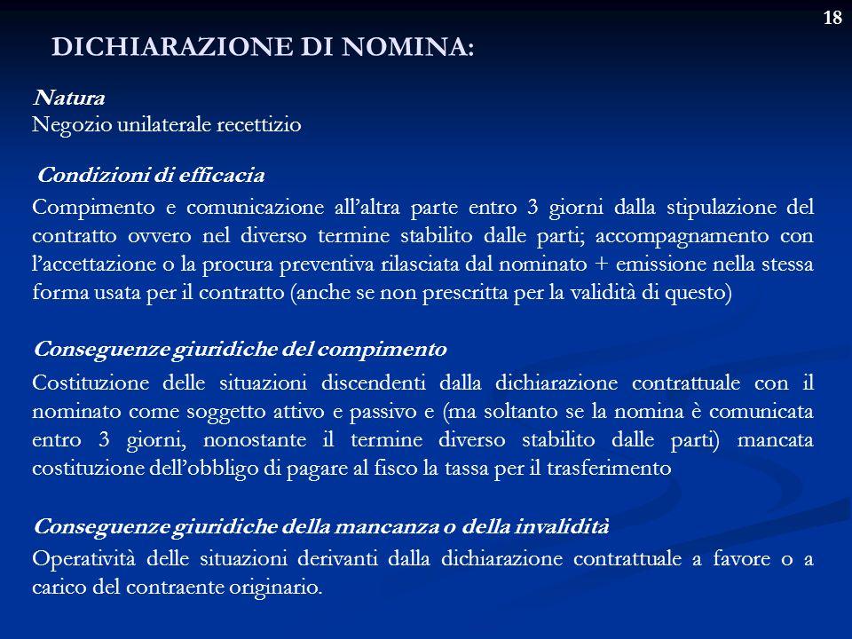18 DICHIARAZIONE DI NOMINA: Natura Negozio unilaterale recettizio Condizioni di efficacia Compimento e comunicazione allaltra parte entro 3 giorni dal