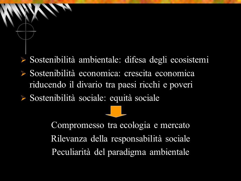 Sostenibilità ambientale: difesa degli ecosistemi Sostenibilità economica: crescita economica riducendo il divario tra paesi ricchi e poveri Sostenibilità sociale: equità sociale Compromesso tra ecologia e mercato Rilevanza della responsabilità sociale Peculiarità del paradigma ambientale