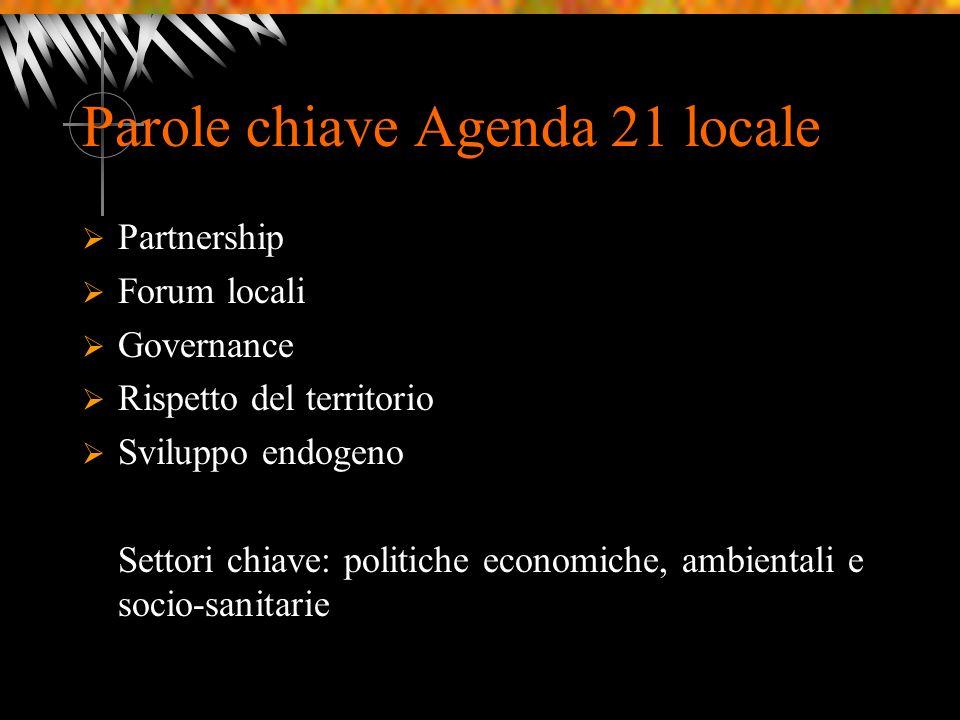 Parole chiave Agenda 21 locale Partnership Forum locali Governance Rispetto del territorio Sviluppo endogeno Settori chiave: politiche economiche, ambientali e socio-sanitarie