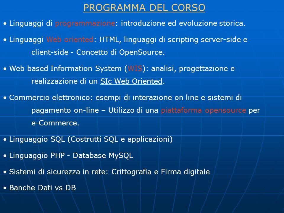 Linguaggi di programmazione: introduzione ed evoluzione storica. Linguaggi Web oriented: HTML, linguaggi di scripting server-side e client-side - Conc