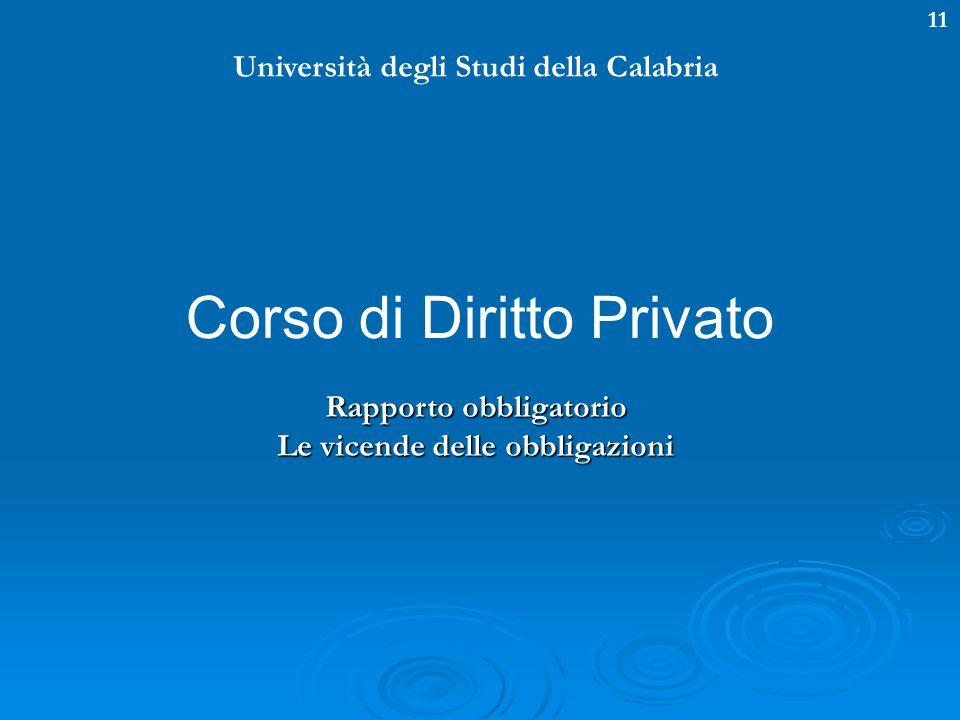 11 Università degli Studi della Calabria Corso di Diritto Privato Rapporto obbligatorio Le vicende delle obbligazioni