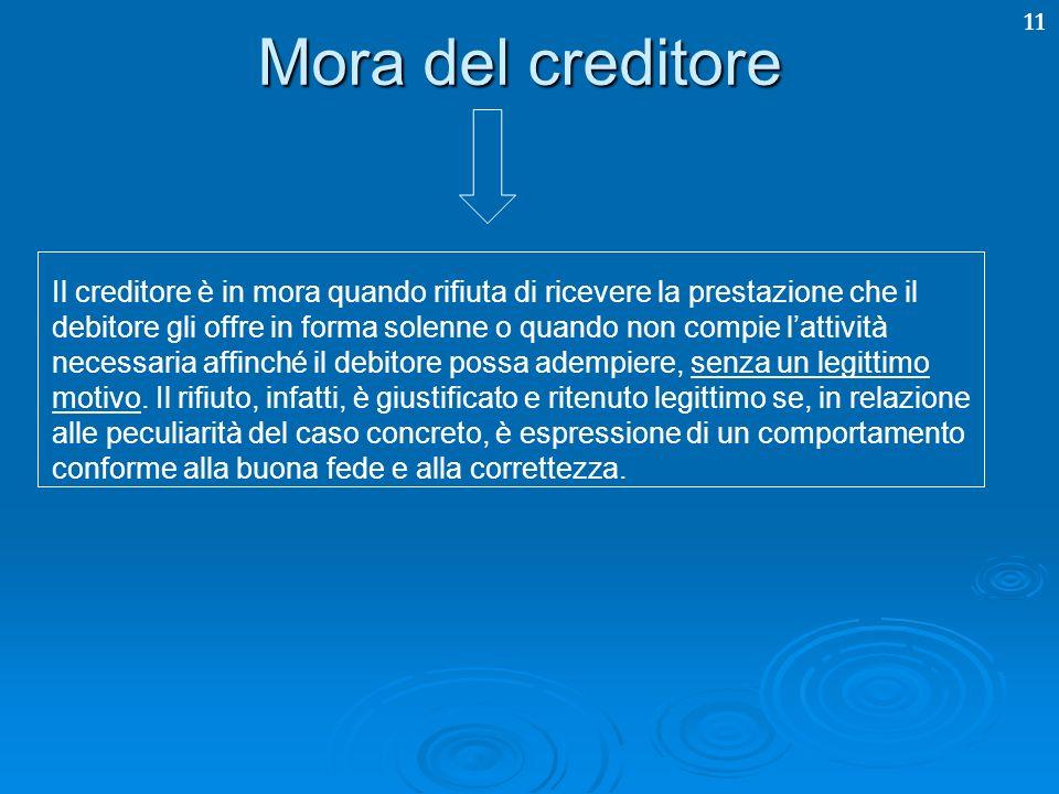 11 Mora del creditore Il creditore è in mora quando rifiuta di ricevere la prestazione che il debitore gli offre in forma solenne o quando non compie