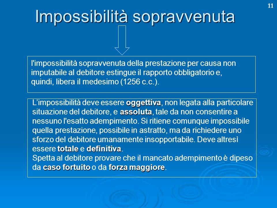 11 Impossibilità sopravvenuta l'impossibilità sopravvenuta della prestazione per causa non imputabile al debitore estingue il rapporto obbligatorio e,