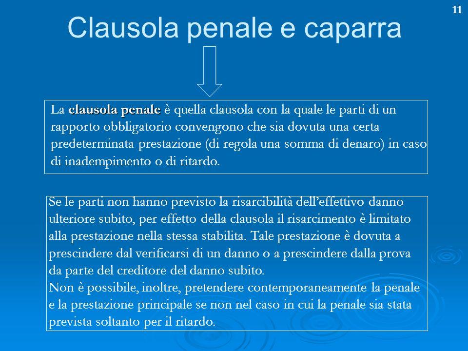 11 Clausola penale e caparra clausola penale La clausola penale è quella clausola con la quale le parti di un rapporto obbligatorio convengono che sia