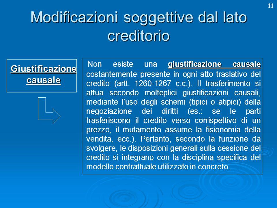 11 Modificazioni soggettive dal lato creditorio giustificazione causale Non esiste una giustificazione causale costantemente presente in ogni atto tra