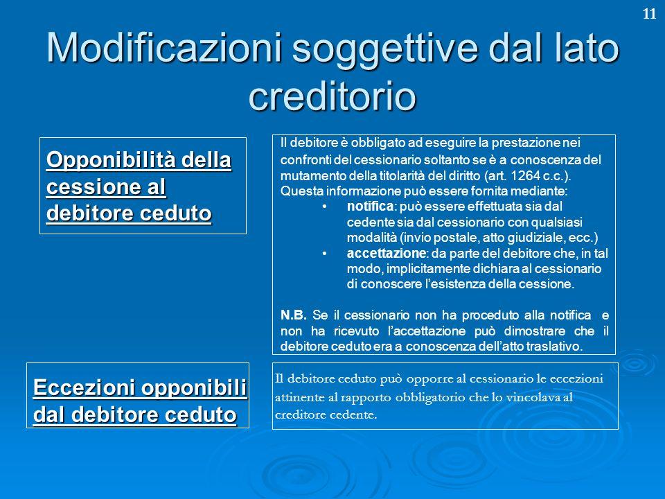 11 Modificazioni soggettive dal lato creditorio Opponibilità della cessione al debitore ceduto Il debitore è obbligato ad eseguire la prestazione nei