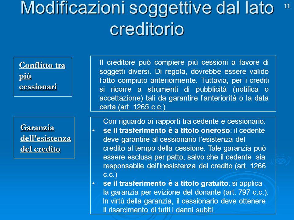 11 Modificazioni soggettive dal lato creditorio Conflitto tra più cessionari Il creditore può compiere più cessioni a favore di soggetti diversi. Di r