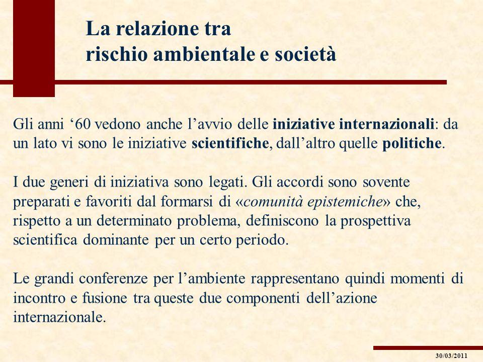Gli anni 60 vedono anche lavvio delle iniziative internazionali: da un lato vi sono le iniziative scientifiche, dallaltro quelle politiche. I due gene