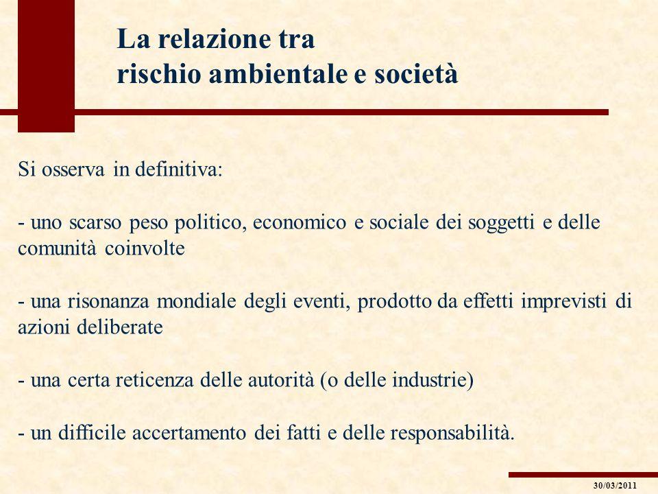 La relazione tra rischio ambientale e società Si osserva in definitiva: - uno scarso peso politico, economico e sociale dei soggetti e delle comunità