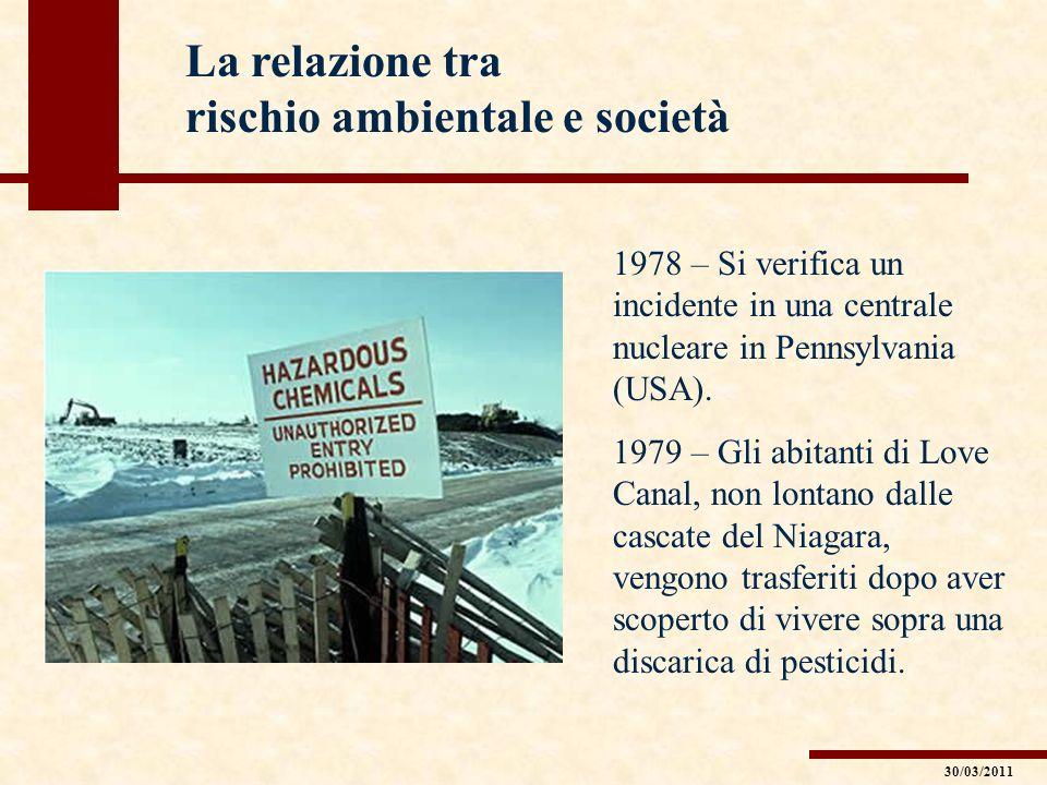 La relazione tra rischio ambientale e società 1978 – Si verifica un incidente in una centrale nucleare in Pennsylvania (USA). 1979 – Gli abitanti di L
