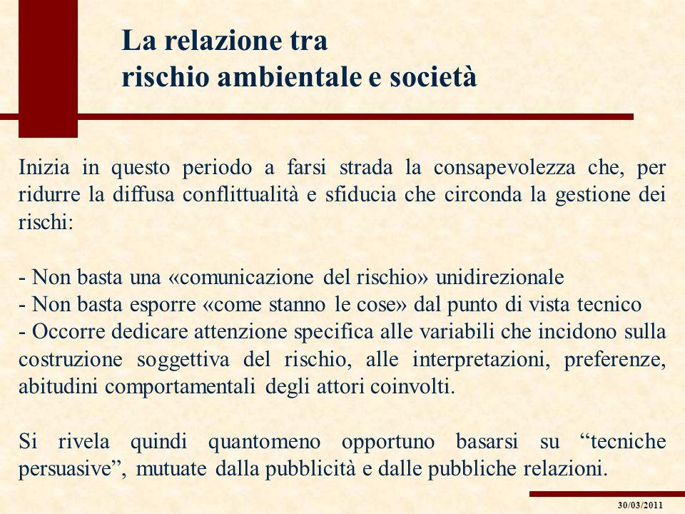 La relazione tra rischio ambientale e società Inizia in questo periodo a farsi strada la consapevolezza che, per ridurre la diffusa conflittualità e s