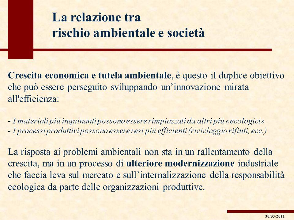 La relazione tra rischio ambientale e società Crescita economica e tutela ambientale, è questo il duplice obiettivo che può essere perseguito sviluppa