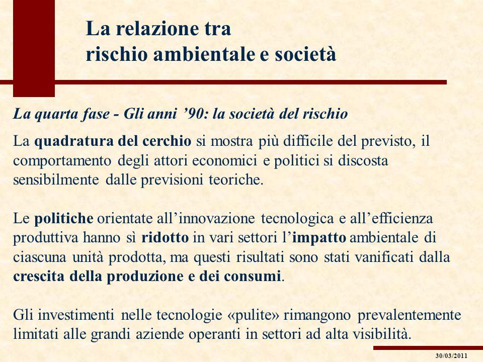 La relazione tra rischio ambientale e società La quarta fase - Gli anni 90: la società del rischio La quadratura del cerchio si mostra più difficile d