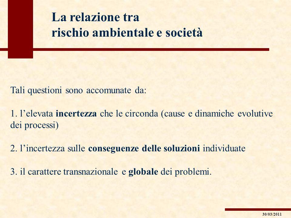 La relazione tra rischio ambientale e società Tali questioni sono accomunate da: 1. lelevata incertezza che le circonda (cause e dinamiche evolutive d