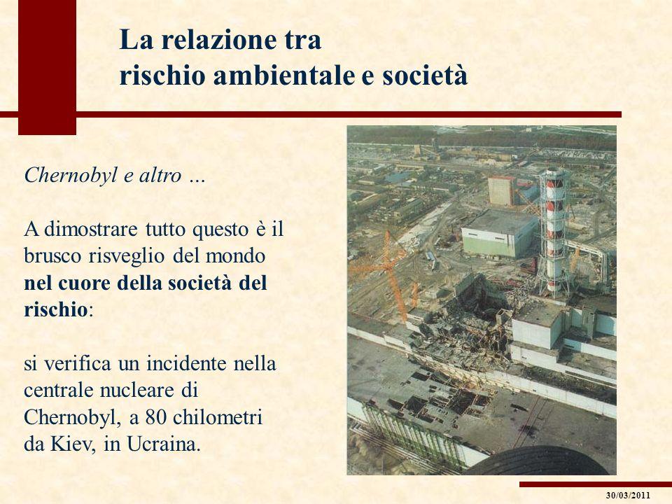 La relazione tra rischio ambientale e società Chernobyl e altro … A dimostrare tutto questo è il brusco risveglio del mondo nel cuore della società de