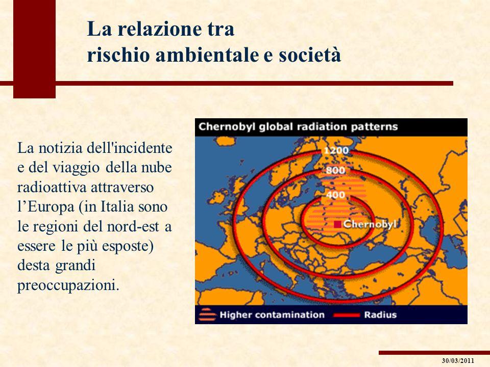 La relazione tra rischio ambientale e società La notizia dell'incidente e del viaggio della nube radioattiva attraverso lEuropa (in Italia sono le reg