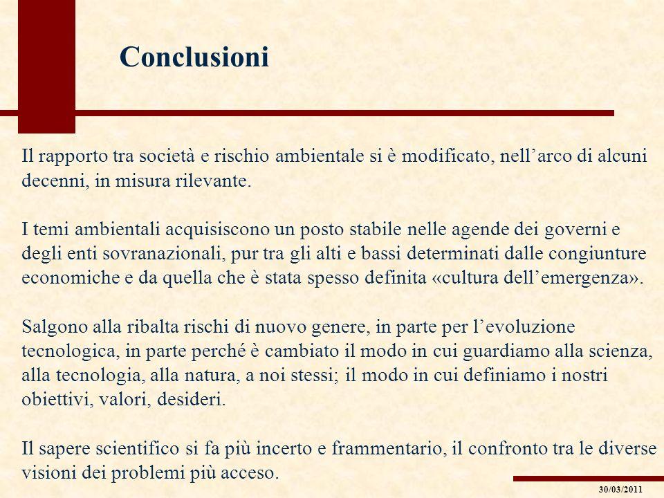 Conclusioni Il rapporto tra società e rischio ambientale si è modificato, nellarco di alcuni decenni, in misura rilevante. I temi ambientali acquisisc