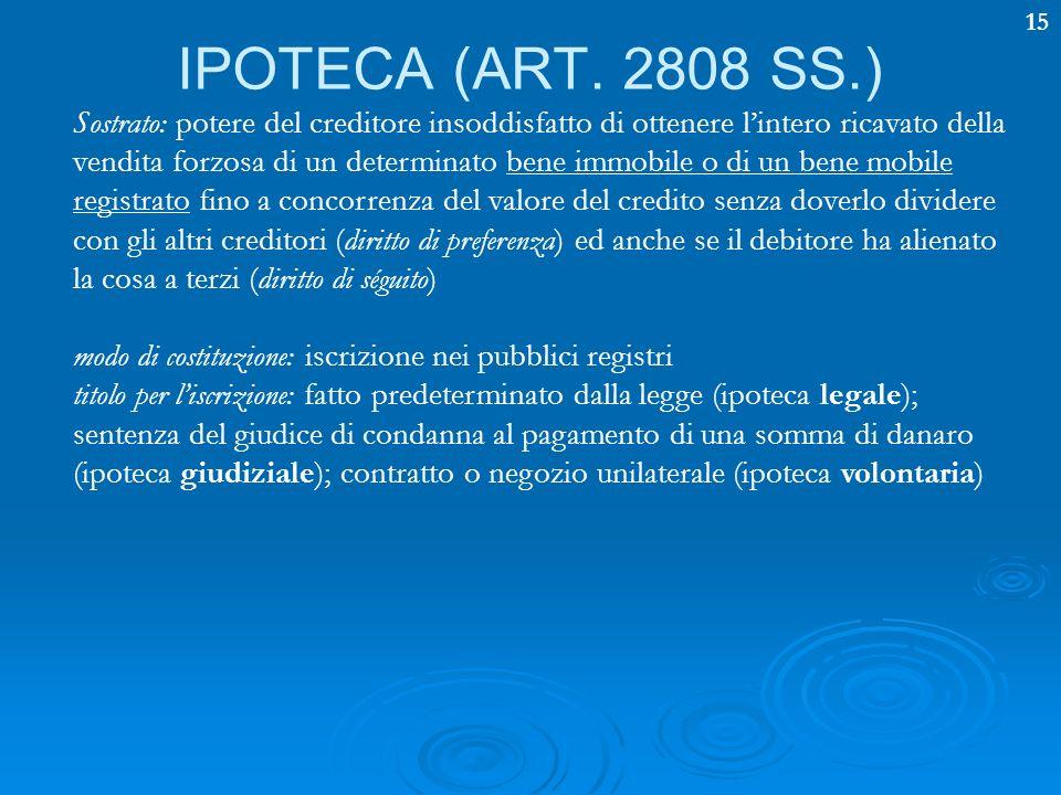15 IPOTECA (ART. 2808 SS.) Sostrato: potere del creditore insoddisfatto di ottenere lintero ricavato della vendita forzosa di un determinato bene immo