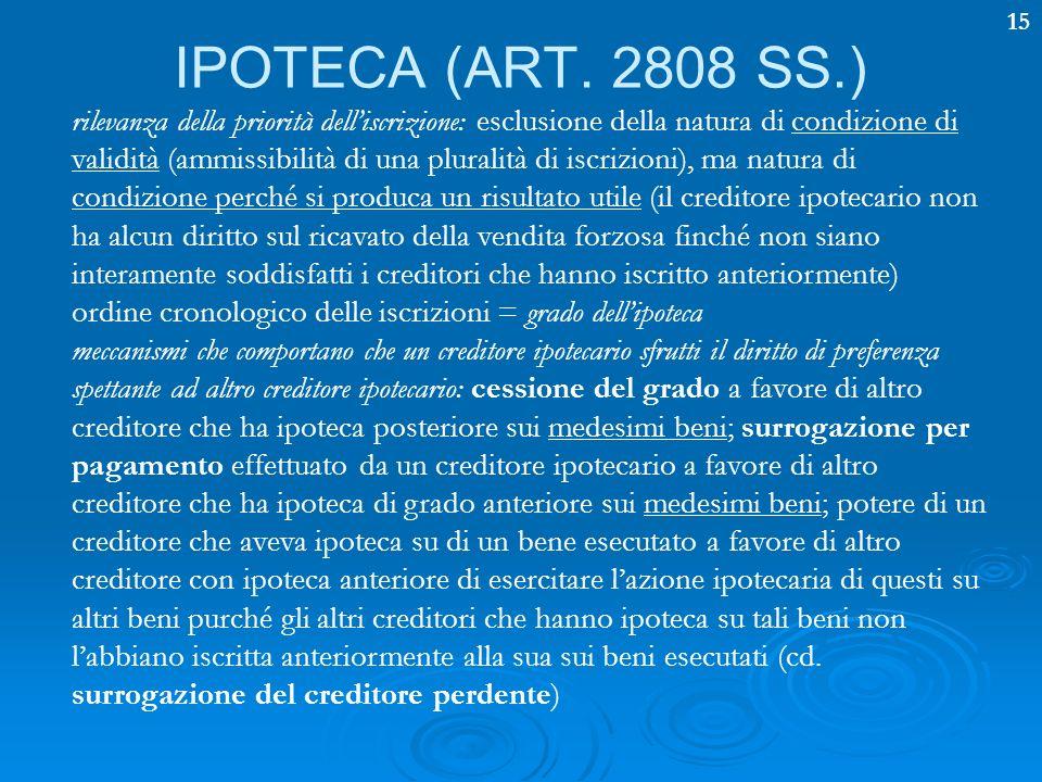 15 IPOTECA (ART. 2808 SS.) rilevanza della priorità delliscrizione: esclusione della natura di condizione di validità (ammissibilità di una pluralità
