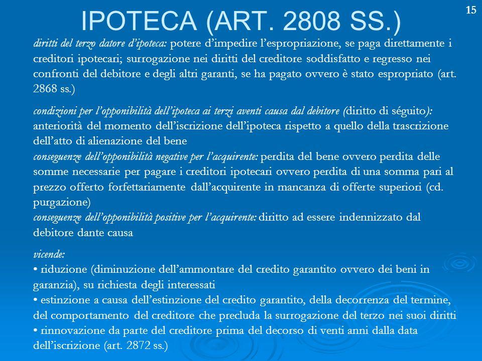 15 IPOTECA (ART. 2808 SS.) diritti del terzo datore dipoteca: potere dimpedire lespropriazione, se paga direttamente i creditori ipotecari; surrogazio