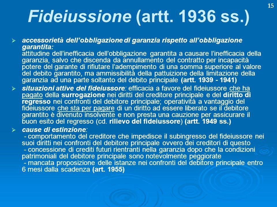 15 Fideiussione (artt. 1936 ss.) accessorietà dellobbligazione di garanzia rispetto allobbligazione garantita: attitudine dellinefficacia dellobbligaz