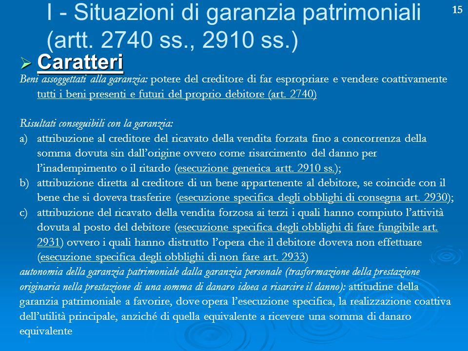 15 I - Situazioni di garanzia patrimoniali (artt. 2740 ss., 2910 ss.) Caratteri Caratteri Beni assoggettati alla garanzia: potere del creditore di far