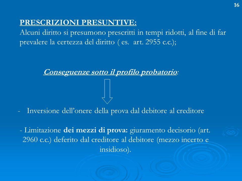 16 PRESCRIZIONI PRESUNTIVE: Alcuni diritto si presumono prescritti in tempi ridotti, al fine di far prevalere la certezza del diritto ( es. art. 2955