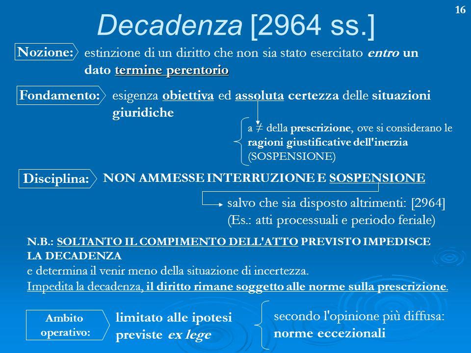 16 Decadenza [2964 ss.] termine perentorio estinzione di un diritto che non sia stato esercitato entro un dato termine perentorio Nozione: Fondamento: