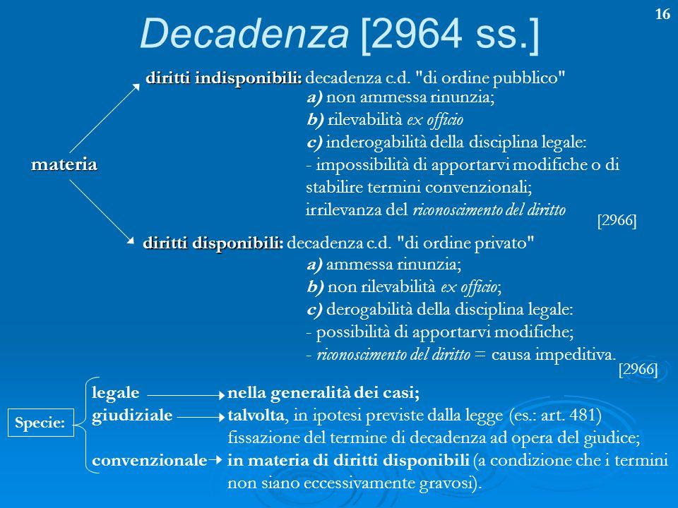16 Decadenza [2964 ss.] materia diritti indisponibili: diritti indisponibili: decadenza c.d.